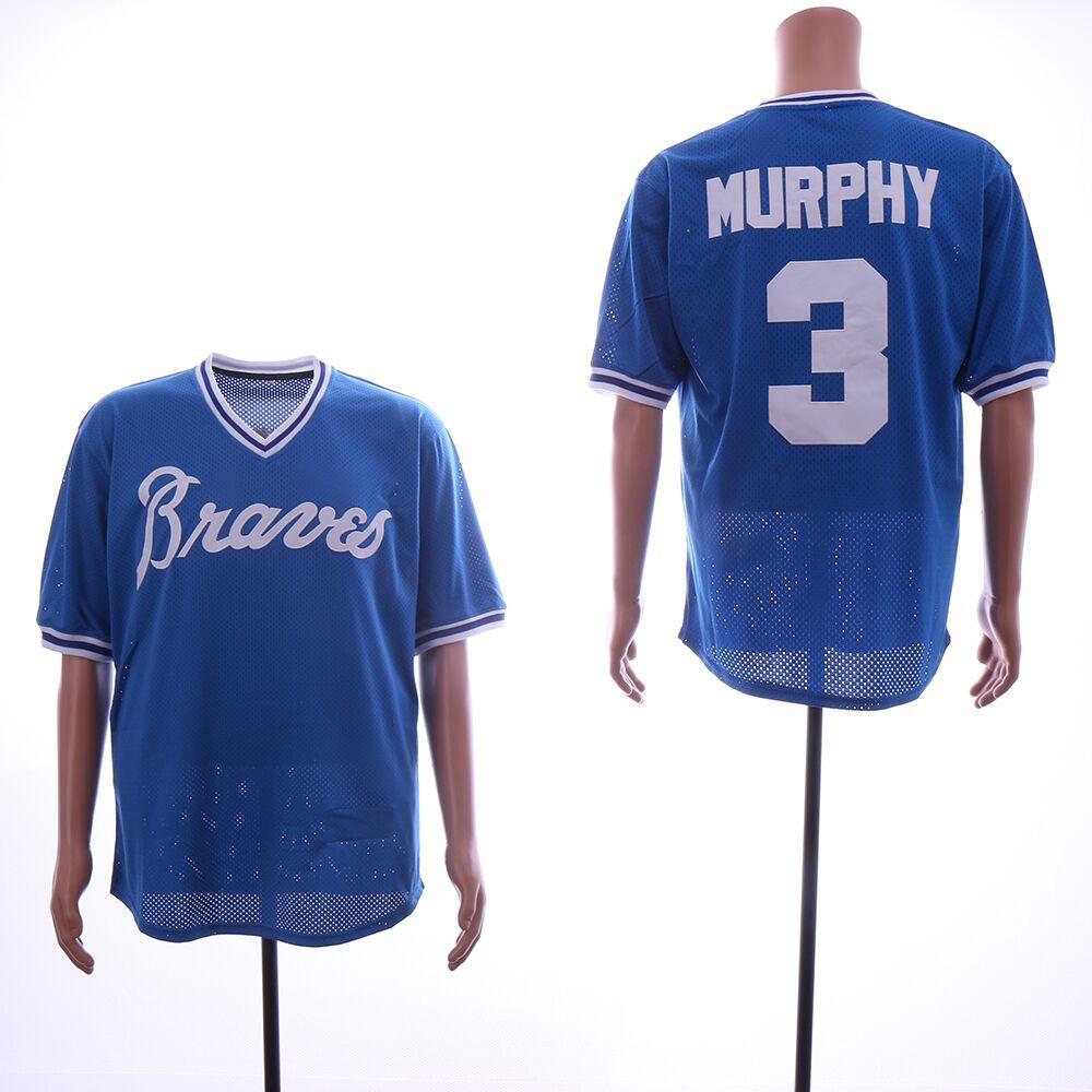 Braves 3 Dale Murphy Blue Mesh Throwback Jersey