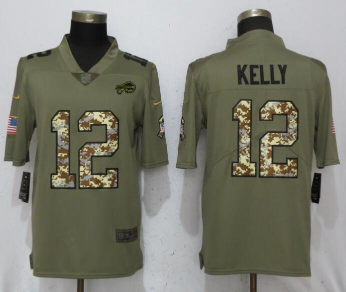 Nike Bills 12 Jim Kelly Olive Camo Salute To Service Limited Jersey