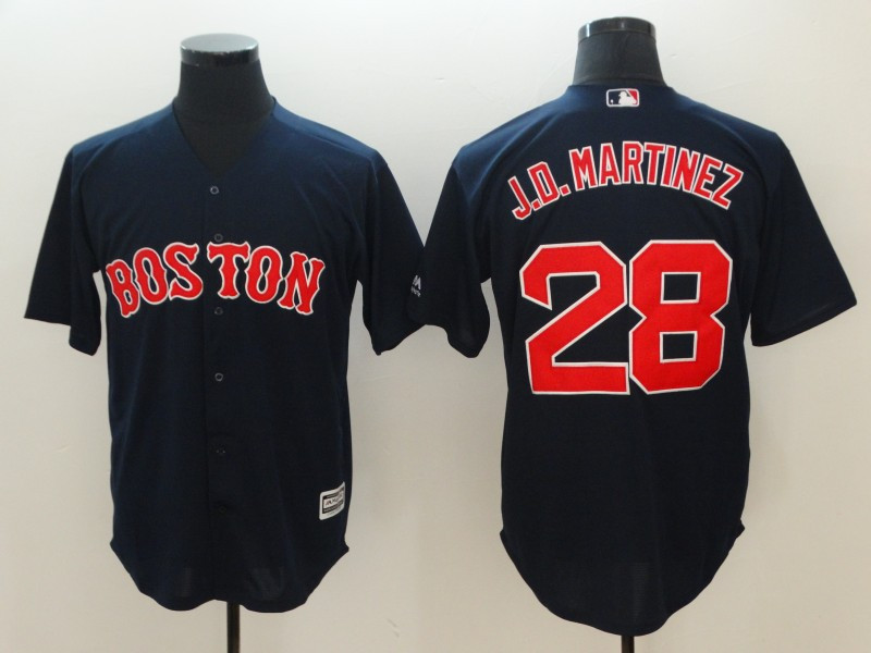 Red Sox 28 J.D. Martinez Navy Cool Base Jersey