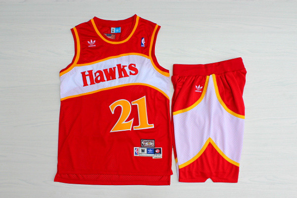 Hawks 21 Dominique Wilkins Red Hardwood Classics Jersey(With Shorts)