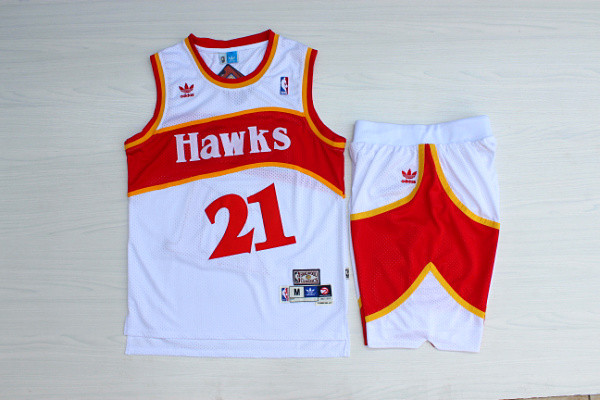 Hawks 21 Dominique Wilkins White Hardwood Classics Jersey(With Shorts)