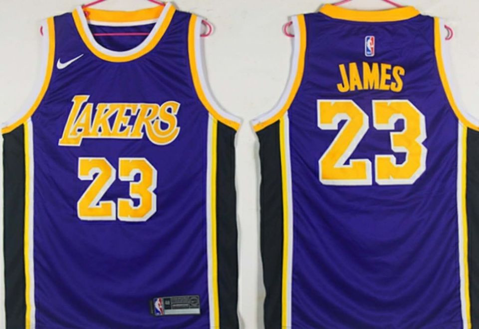 Lakers 23 Lebron James Purple 2018-19 Nike Swingman Jersey
