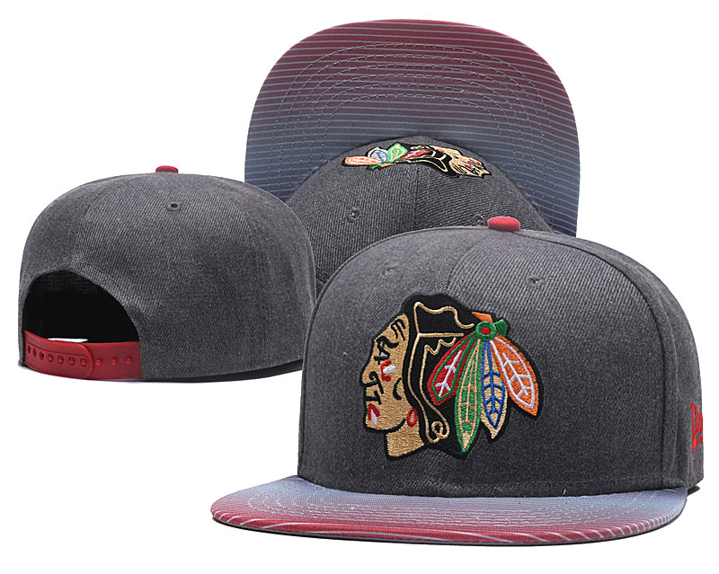 Blackhawks Team Logo Gray Adjustable Hat GS