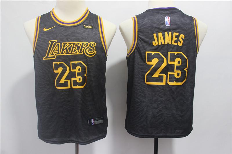 Lakers 23 Lebron James Black 2018-19 City Edition Youth Nike Swingman Jerseys