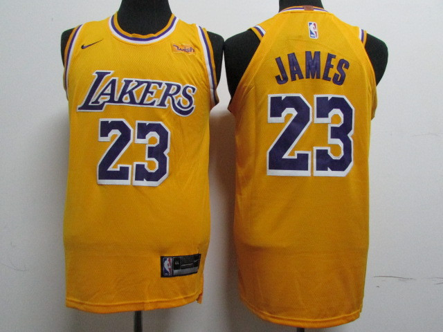 Lakers 23 Lebron James Gold 2018-19 Nike Authentic Jersey