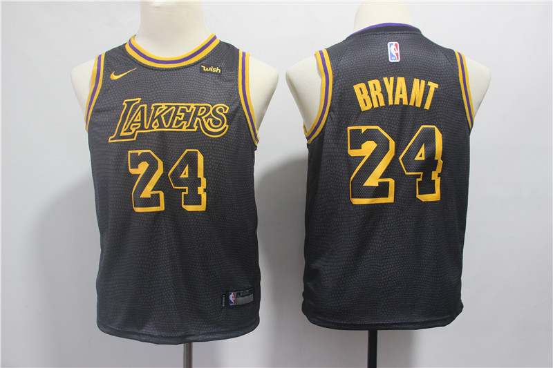 Lakers 24 Kobe Bryant Black 2018-19 City Edition Youth Nike Swingman Jerseys