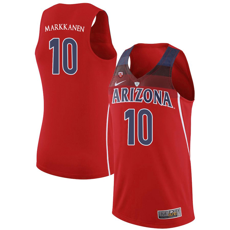 Arizona Wildcats 10 Lauri Markkanen Red College Basketball Jersey