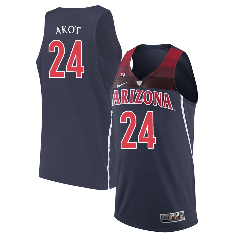 Arizona Wildcats 24 Emmanuel Akot Navy College Basketball Jersey