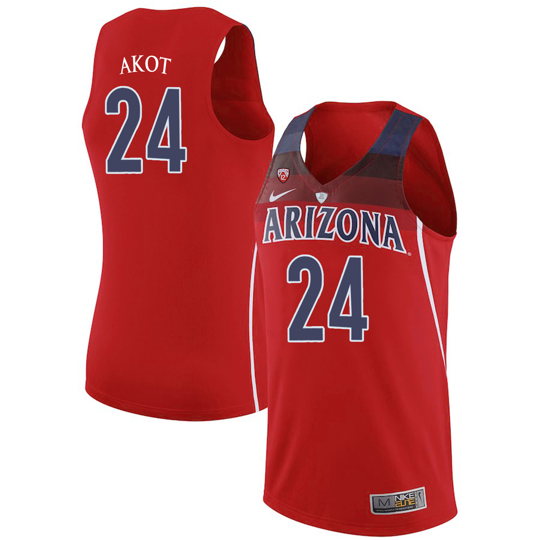Arizona Wildcats 24 Emmanuel Akot Red College Basketball Jersey