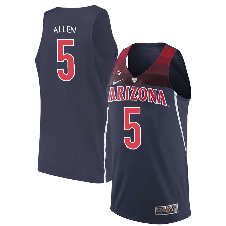 Arizona Wildcats 5 Kadeem Allen Navy College Basketball Jersey