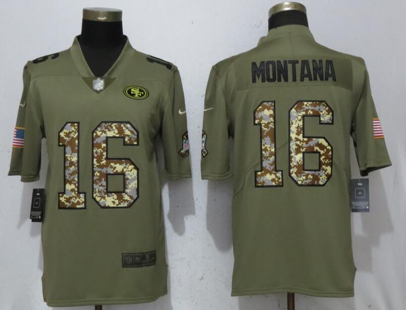 Nike 49ers 16 Joe Montana Olive Camo Salute To Service Limited Jersey