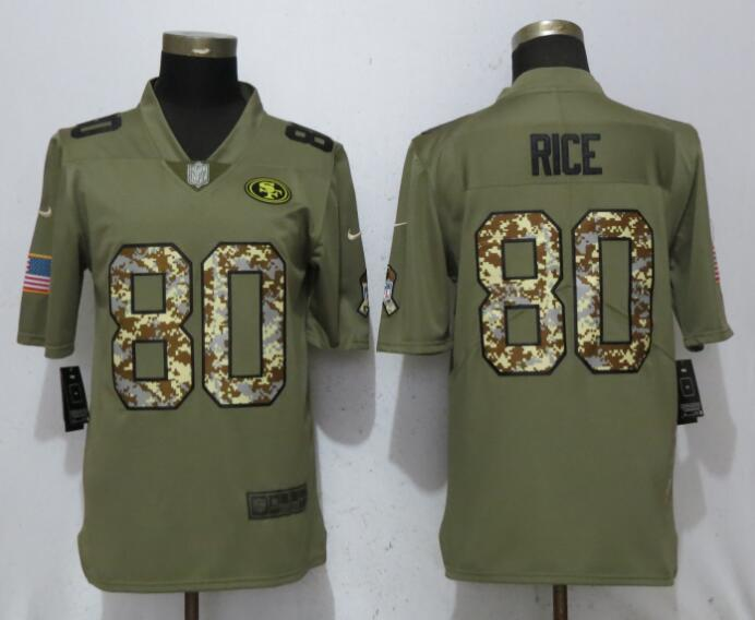 Nike 49ers 80 Jerry Rice Olive Camo Salute To Service Limited Jersey