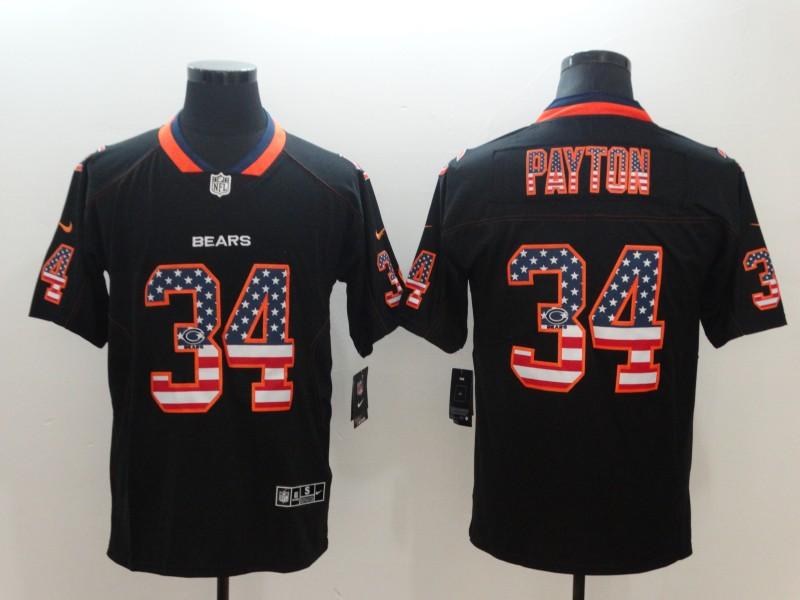 Nike Bears 34 Wlater Payton Black USA Flag Limited Jersey
