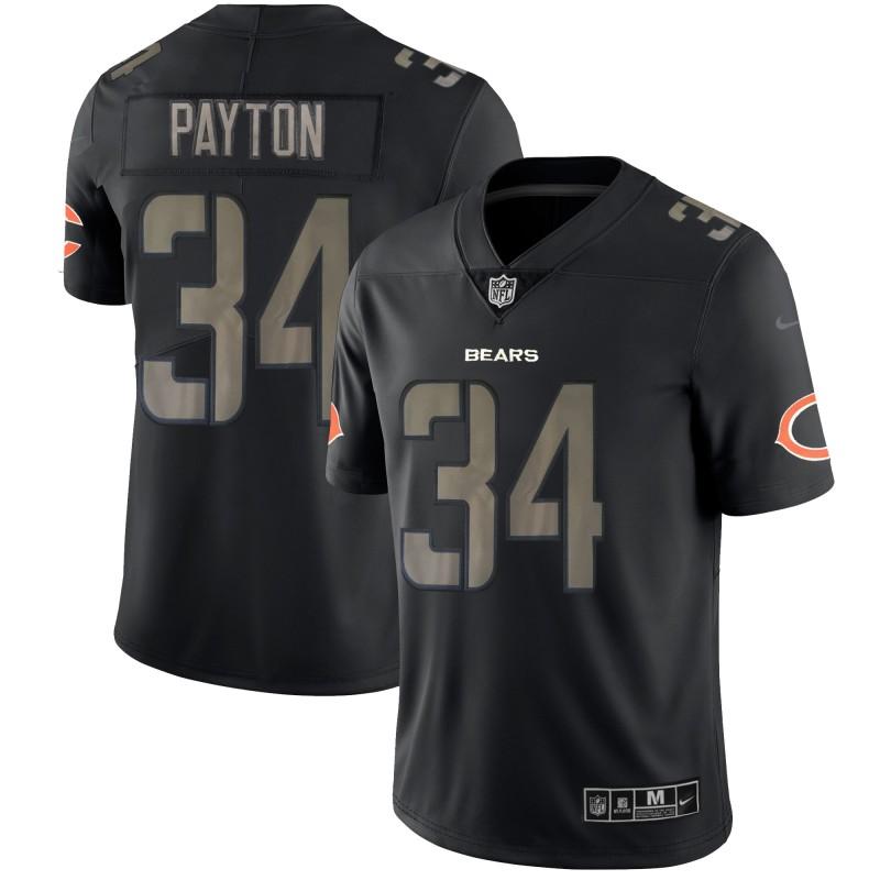 Nike Bears 34 Wlater Payton Black Vapor Impact Limited Jersey