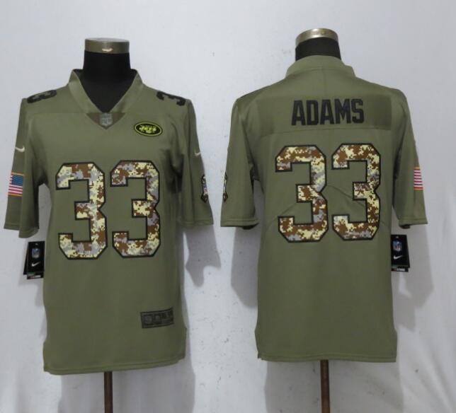 Nike Jets 33 Jamal Adams Olive Camo Salute To Service Limited Jersey