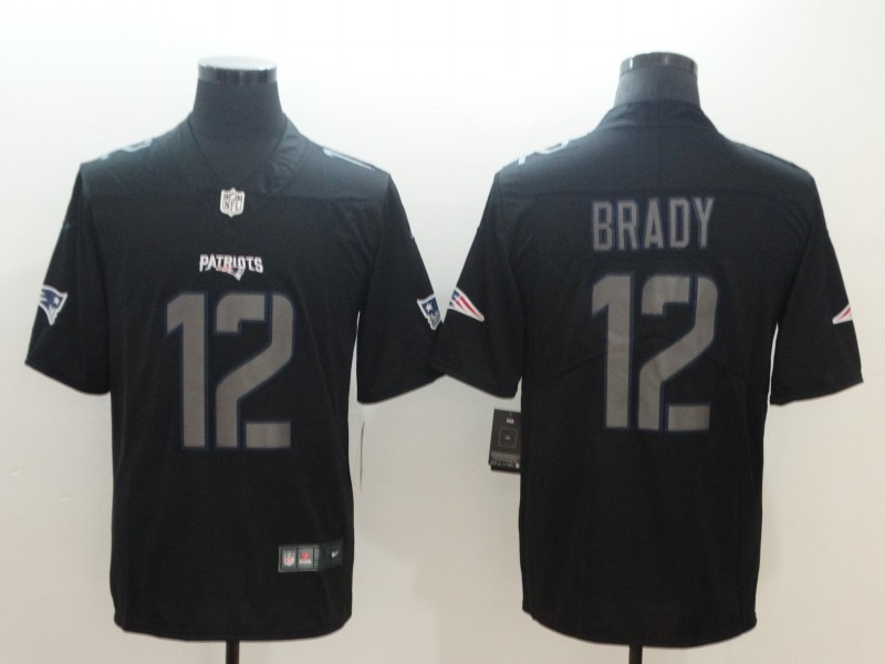 Nike Patriots 12 Tom Brady Black Vapor Impact Limited Jersey