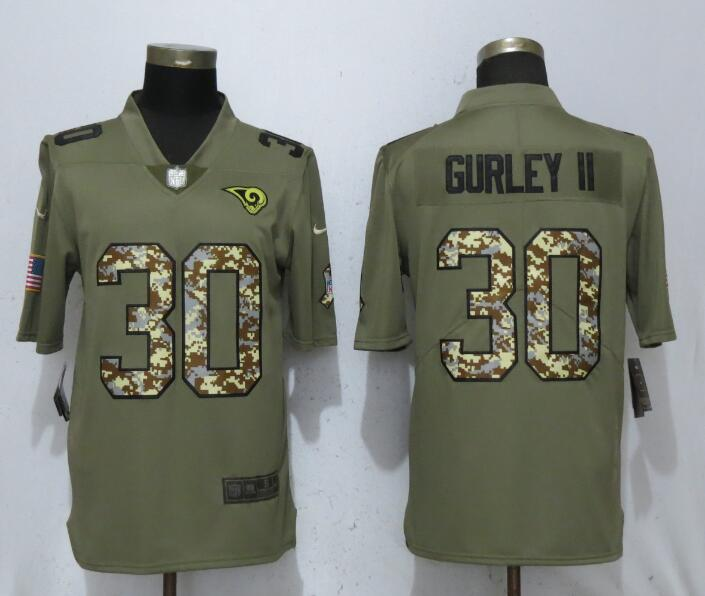 Nike Rams 30 Todd Gurley II Olive Camo Salute To Service Limited Jersey