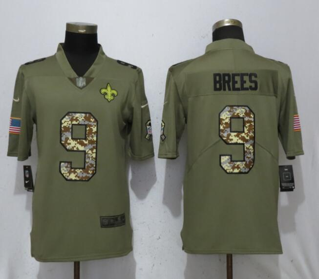Nike Saints 9 Drew Brees Olive Camo Salute To Service Limited Jersey