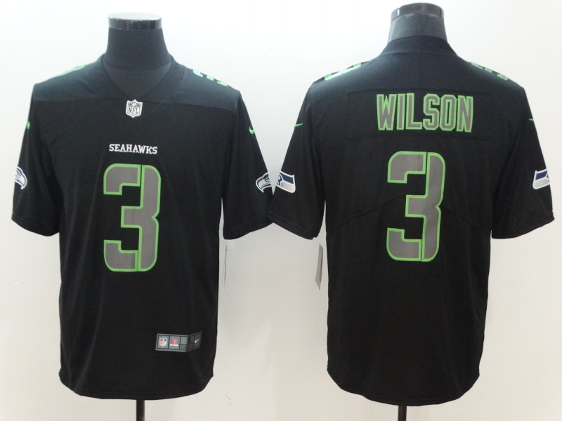 Nike Seahawks 3 Russell Wilson Black Vapor Impact Limited Jersey