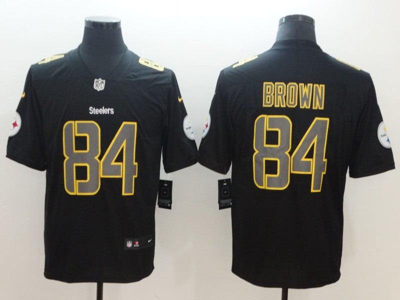 Nike Steelers 84 Antonio Brown Black Vapor Impact Limited Jersey.