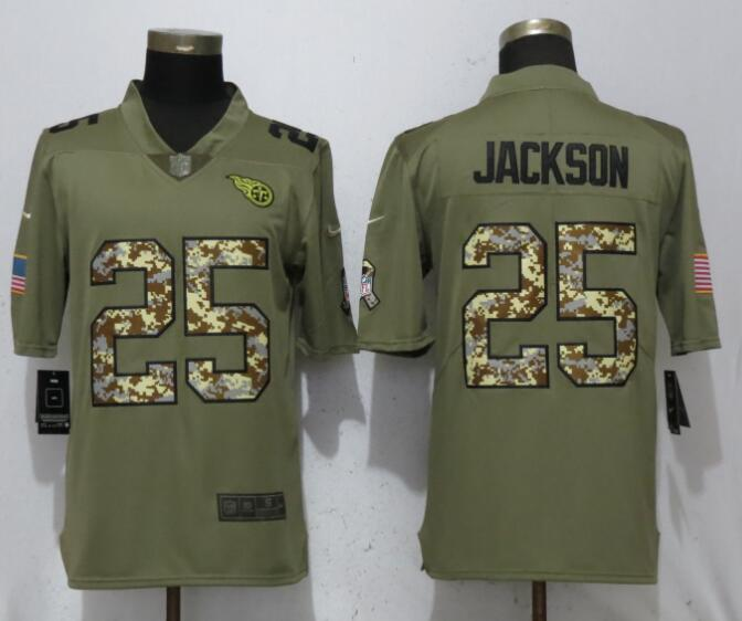 Nike Titans 25 Adoree' Jackson Olive Camo Salute To Service Limited Jersey
