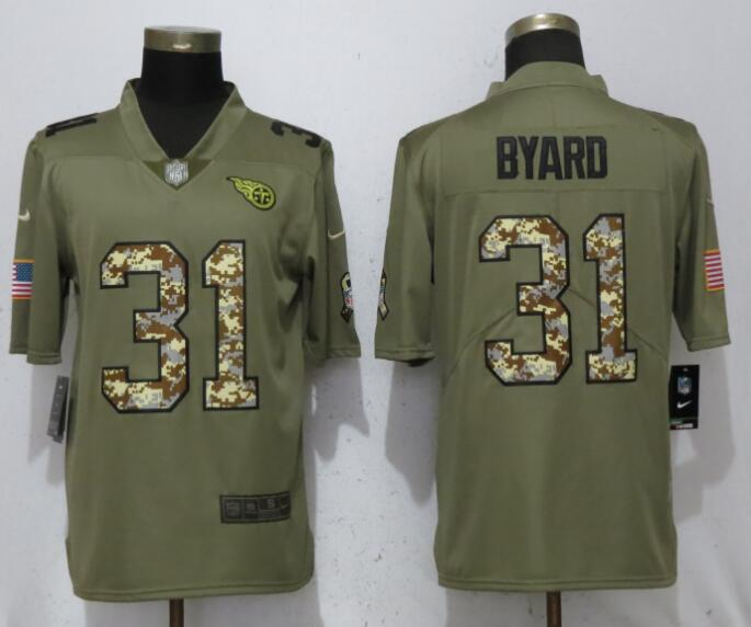 Nike Titans 31 Kevin Byard Olive Camo Salute To Service Limited Jersey