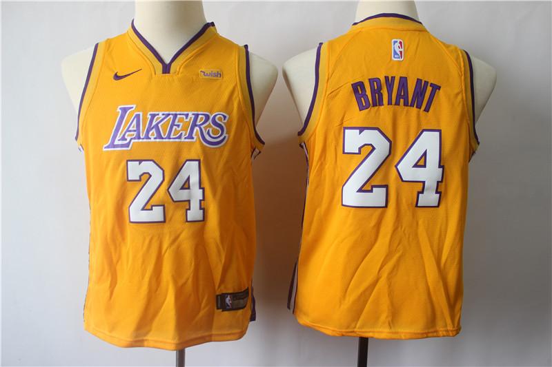 Lakers 24 Kobe Bryant Gold Youth Nike Swingman Jersey
