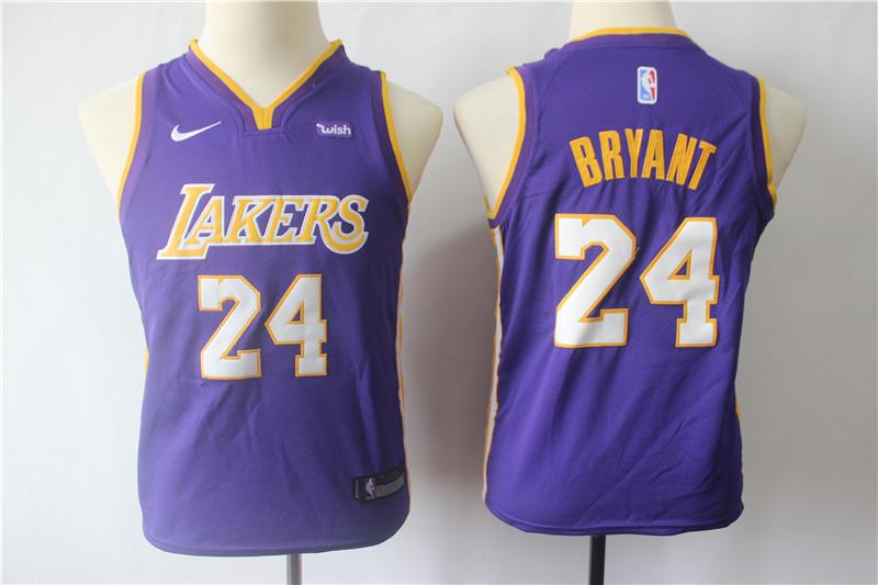 Lakers 24 Kobe Bryant Purple Youth Nike Swingman Jersey