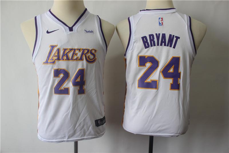 Lakers 24 Kobe Bryant White Youth Nike Swingman Jersey