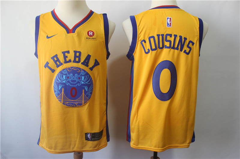 Warriors 0 DeMarcus Cousins Gold City Edition Nike Swingman Jersey