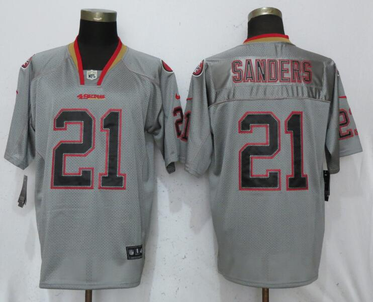Nike 49ers 21 Deion Sanders Gray Lights Out Elite Jersey