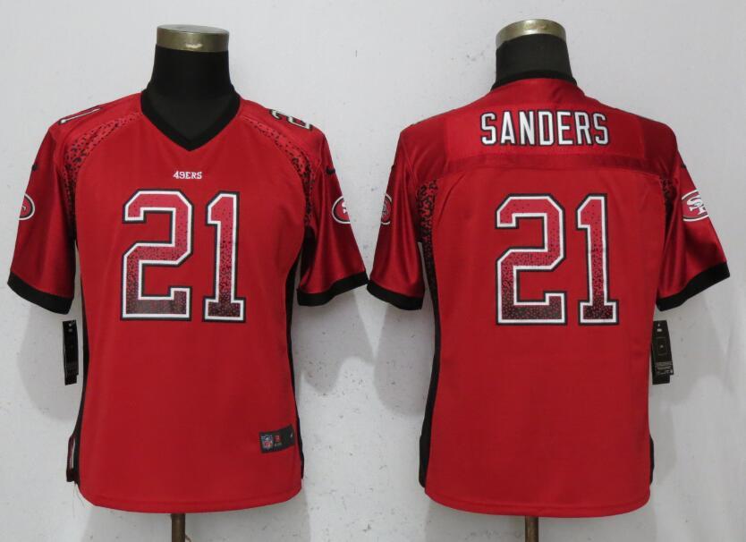 Nike 49ers 21 Deion Sanders Red Women Drift Fashion Jersey