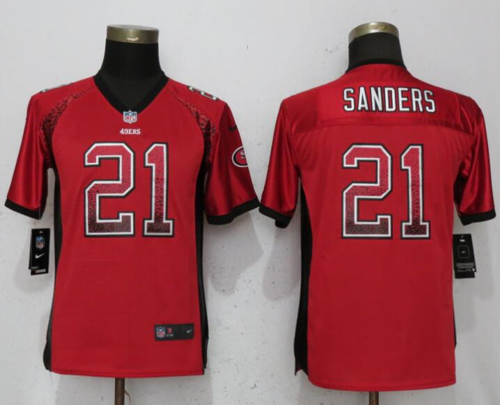 Nike 49ers 21 Deion Sanders Red Youth Drift Fashion Jersey