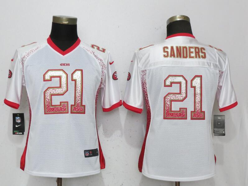 Nike 49ers 21 Deion Sanders White Women Drift Fashion Jersey