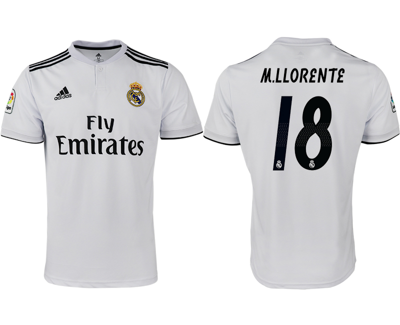 2018-19 Real Madrid 18 M.LLORENTE Home Thailand Soccer Jersey