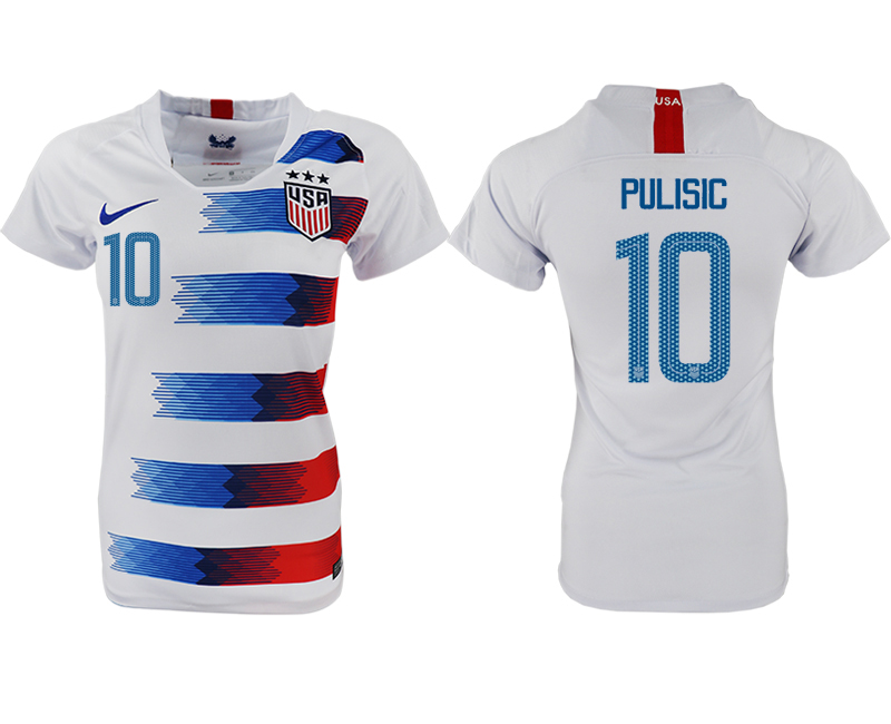 2018-19 USA 10 PULISIC Home Women Soccer Jersey