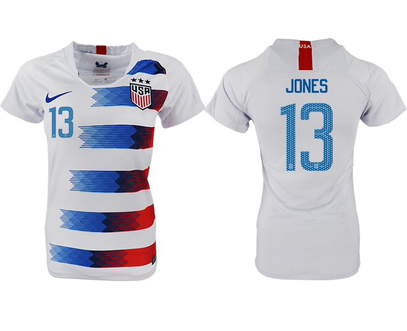 2018-19 USA 13 JONES Home Women Soccer Jersey