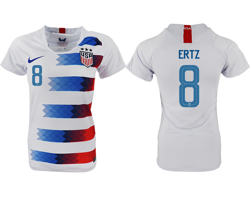 2018-19 USA 8 ERTZ Home Women Soccer Jersey