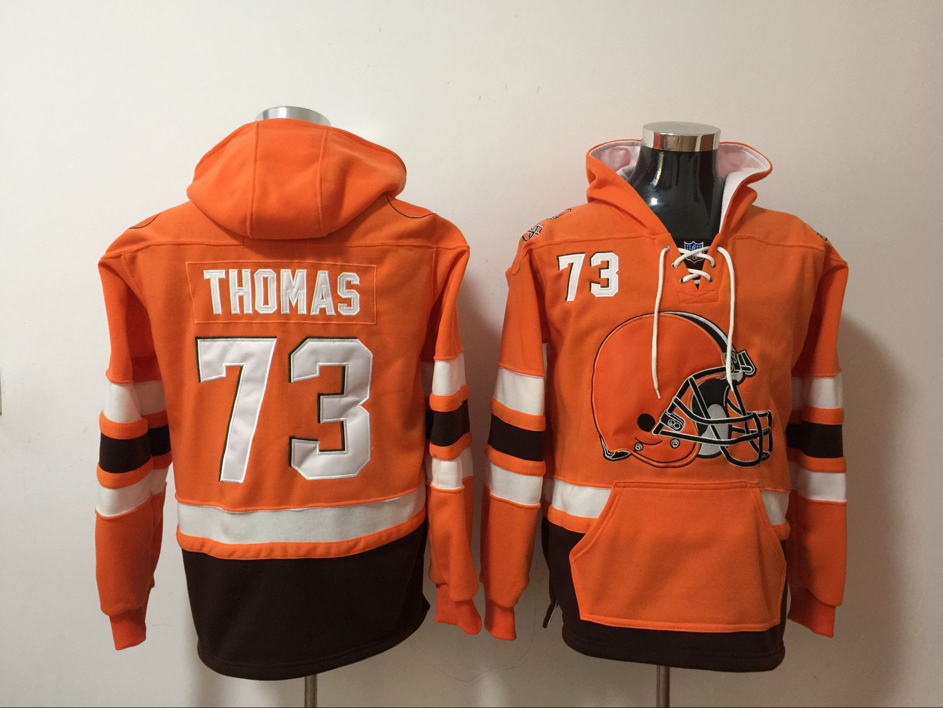 Nike Browns 73 Joe Thomas Orange All Stitched Hooded Sweatshirt