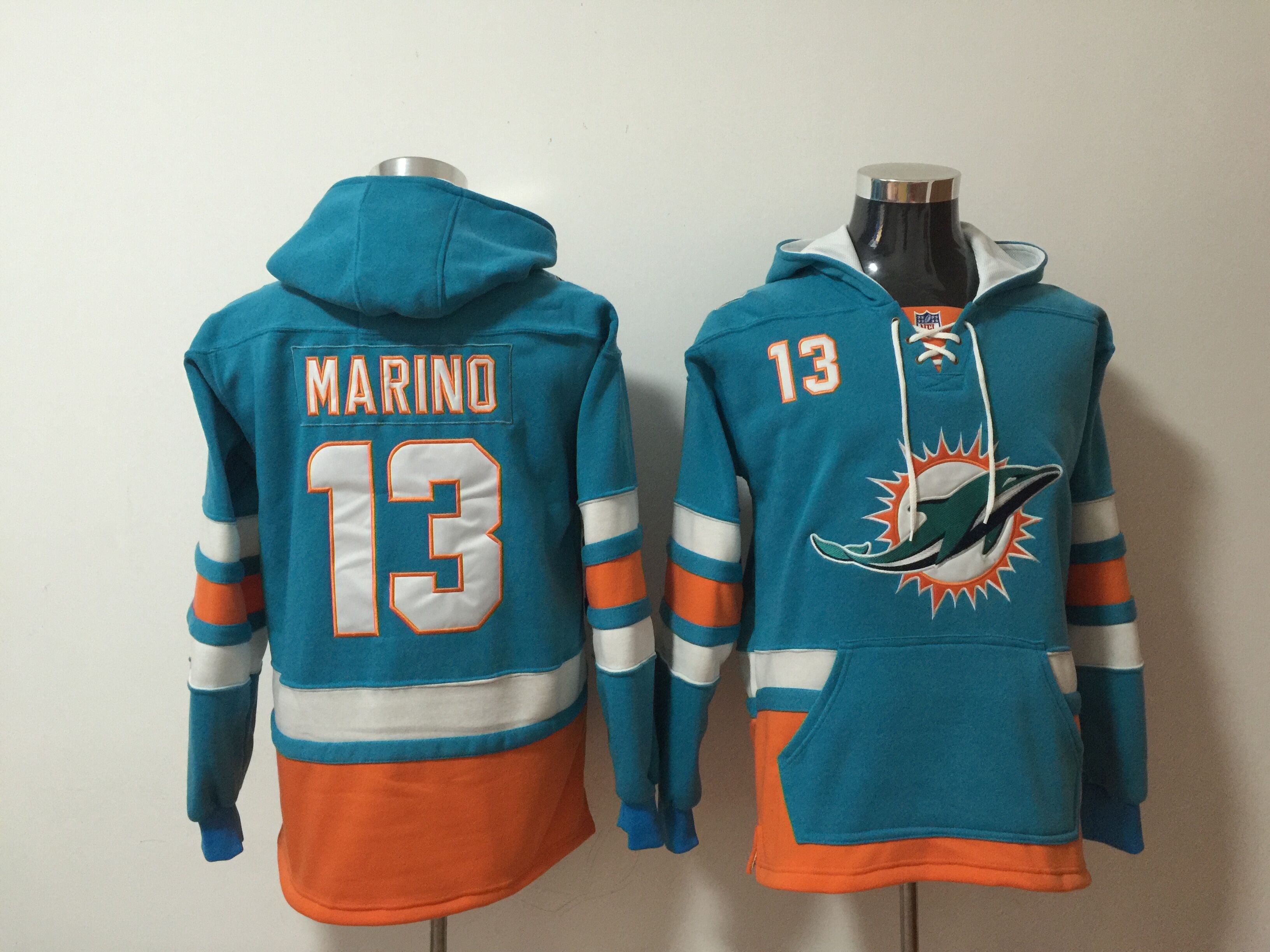 Nike Dolphins 13 Dan Marino Green All Stitched Hooded Sweatshirt