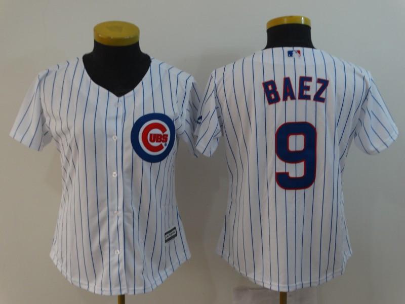 Cubs 9 Javiers Baez White Women Cool Base Jersey