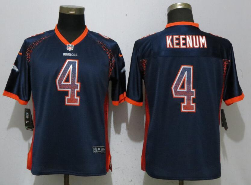 Nike Broncos 4 Case Keenum Navy Women Drift Fashion Jersey