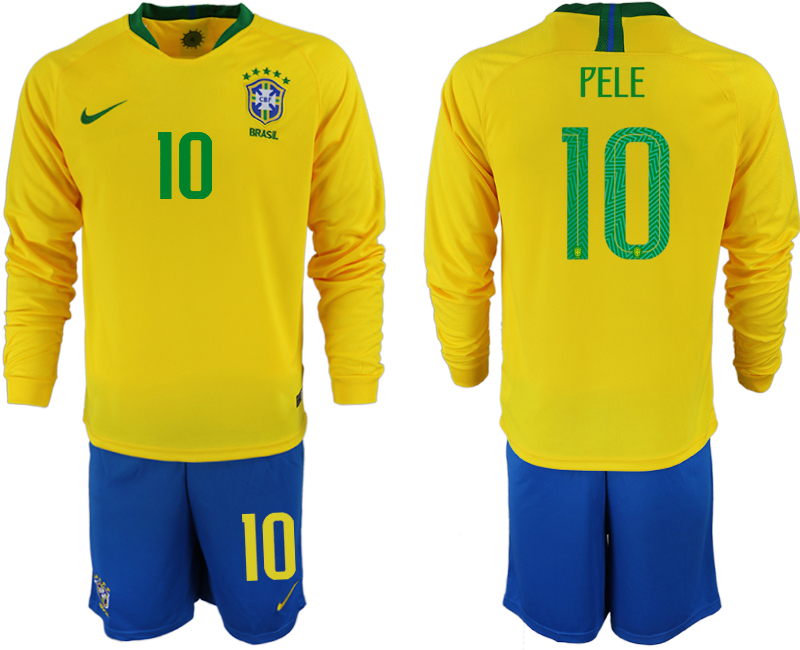Brazil 10 PELE Home 2018 FIFA World Cup Long Sleeve Soccer Jersey