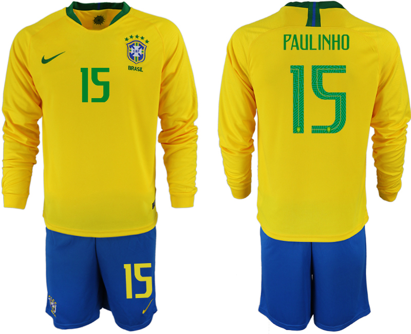 Brazil 15 PAULINHO Home 2018 FIFA World Cup Long Sleeve Soccer Jersey