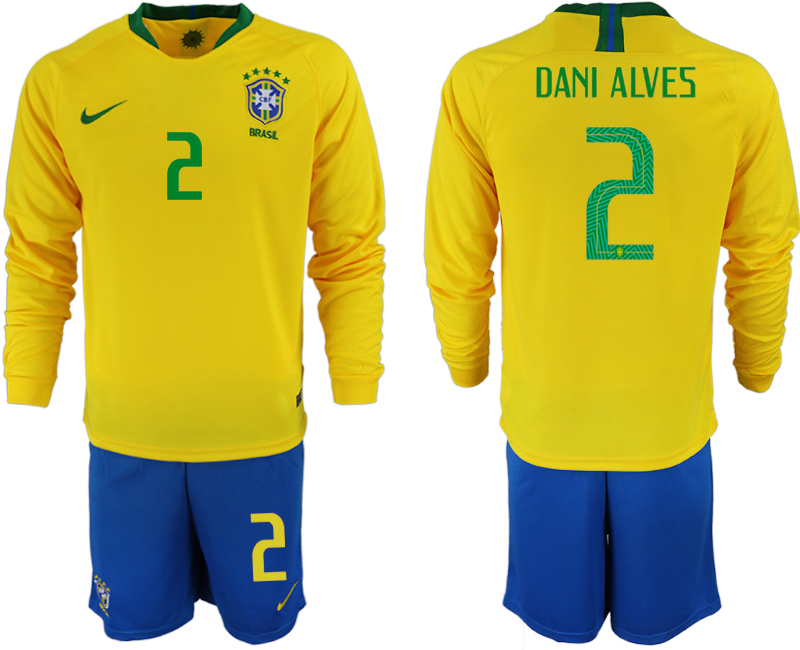 Brazil 2 DANI ALVES Home 2018 FIFA World Cup Long Sleeve Soccer Jersey