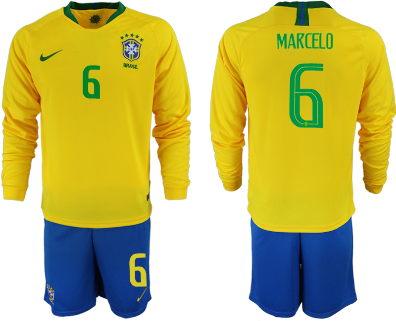 Brazil 6 MARCELO Home 2018 FIFA World Cup Long Sleeve Soccer Jersey
