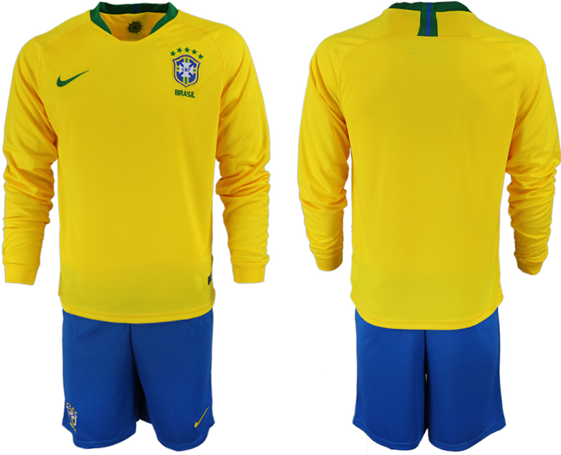 Brazil Home 2018 FIFA World Cup Long Sleeve Soccer Jersey