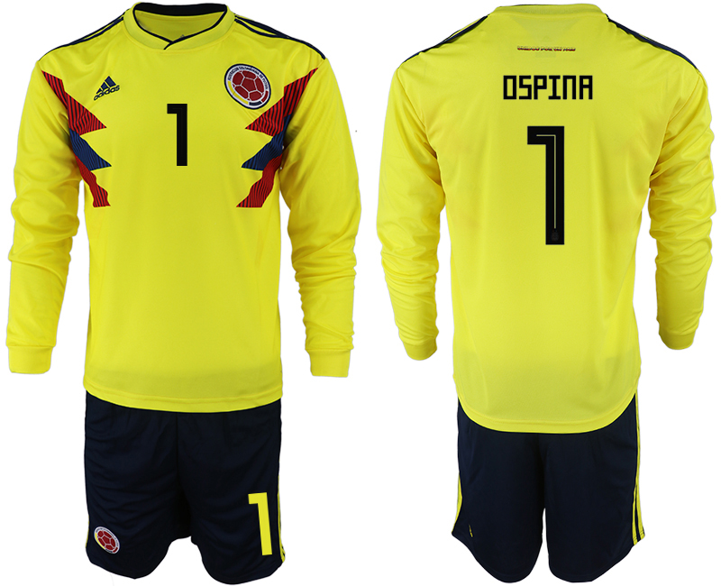 Colombia 1 OSPINA Home 2018 FIFA World Cup Long Sleeve Soccer Jersey