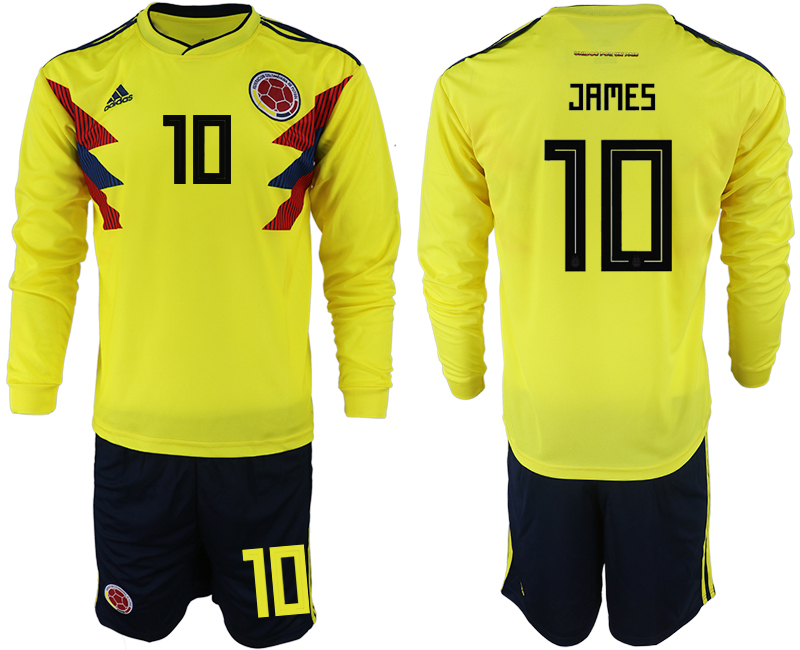 Colombia 10 JAMES Home 2018 FIFA World Cup Long Sleeve Soccer Jersey