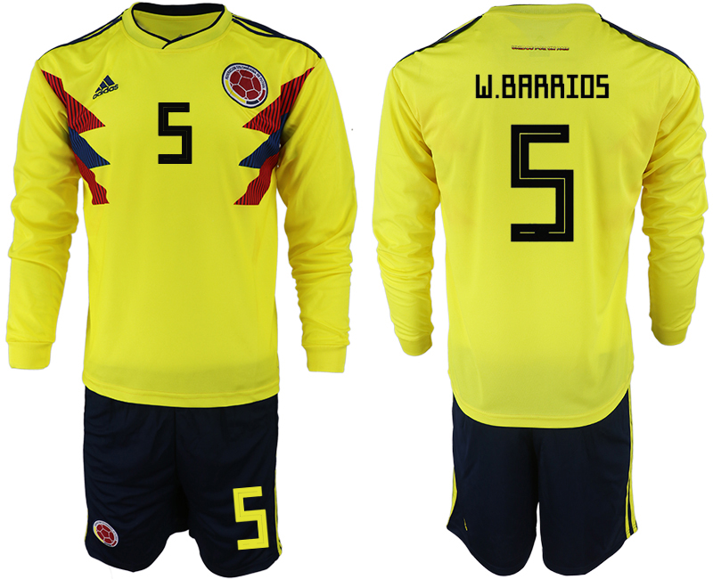 Colombia 5 W. BARRIOS Home 2018 FIFA World Cup Long Sleeve Soccer Jersey